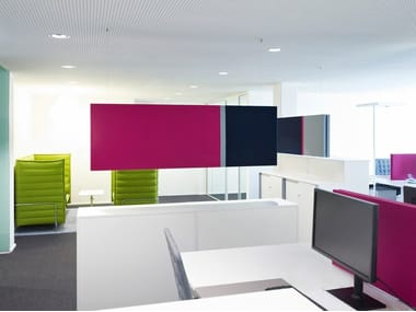 Fabric-based acoustic panels - suspended COLORS FIELDS   Acoustic baffles