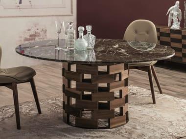 Round Dark Emperador marble table with walnut base COLOSSEO   Dark Emperador marble table