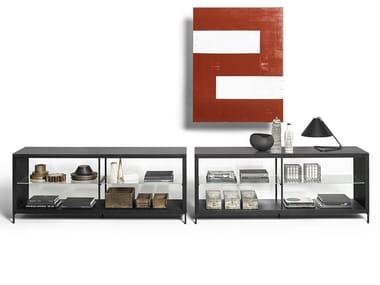 Buffet en bois et verre avec éclairage intégré COMBI | Buffet en bois et verre