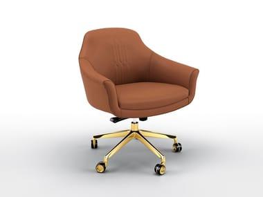 Chaise de bureau rembourrée en cuir avec accoudoirs COMET | Chaise de bureau