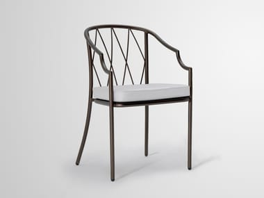 Steel easy chair with armrests COMO