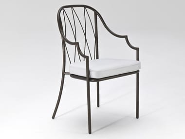 High-back steel chair with armrests COMO