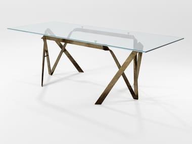 Mesa de jantar retangular de cristal COMPASSO   Mesa de jantar