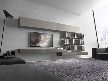 Sectional wall-mounted wooden storage wall I-modulART_20 - 322