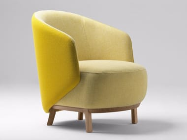 Upholstered metal armchair with armrests CONCHA | Armchair
