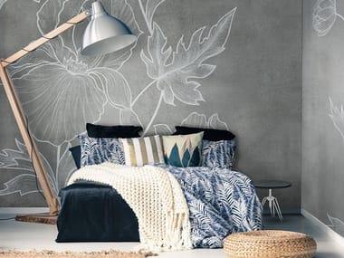 Vinyl or fyber glass wallpaper CONCRETE FLOWER CEMENT