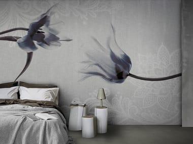 Vinyl or fyber glass wallpaper CONCRETE FLOWER LACE
