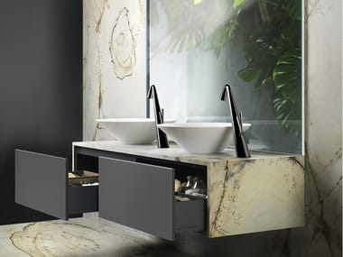 Mobile lavabo doppio sospeso con cassetti CONO 03
