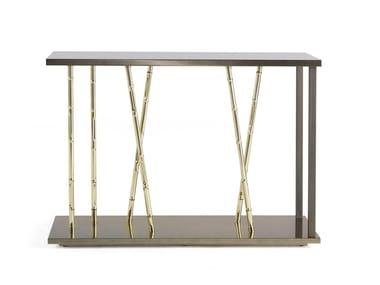 Rectangular eucalyptus and metal console table TAXILA | Console table