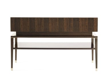 Rectangular eucalyptus console table with shelving TIBESTI | Console table