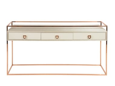 Rectangular metal and wooden console table with drawers COCKTAIL | Console table