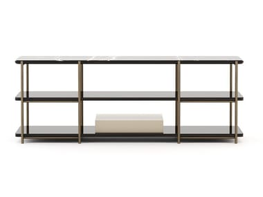 Rectangular bronze and marble console table with shelving HER | Console table