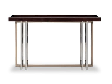 Rectangular stainless steel and wood console table VECTOR | Console table