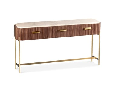 Wood veneer and marble console table with drawers MALCOLM | Console table