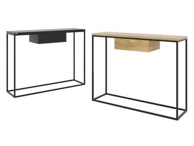 Mesa consolas retangular em aço e madeira com gavetas SKINNY | Mesa consolas com gavetas