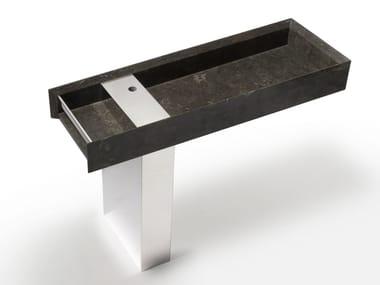 Rectangular marble washbasin ONSEN | Pedestal basin
