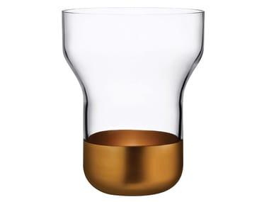 Vaso in cristallo con base in rame CONTOUR WIDE | Vaso in cristallo