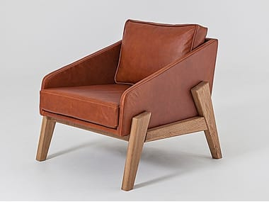 Leather easy chair with armrests COOPER TUB CHAIR | Leather easy chair
