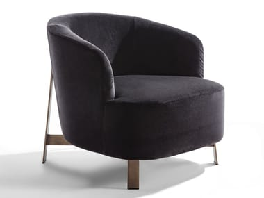 Velvet armchair and bronzed brass base COPINE | Armchair