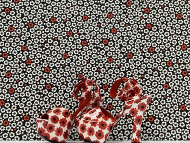 Woven vinyl wallpaper with floral pattern COQUELICOT