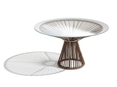 Tavolino rotondo in cuoio CORDULA | Tavolino in cuoio