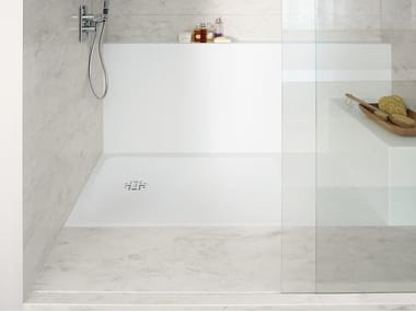 Flush fitting rectangular Corian® shower tray CORIAN® SMART