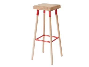 High cork stool with footrest MARCO | High stool