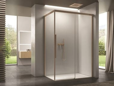 Corner glass shower cabin with sliding door SPACE   Corner shower cabin