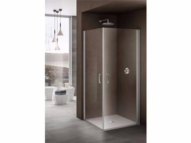 Box doccia angolare con piatto con porta a battente LOOK | Box doccia angolare