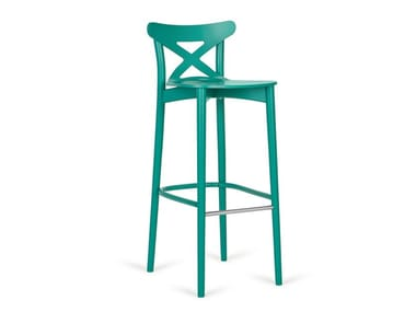 High lacquered wooden stool with back CORTE H-4313