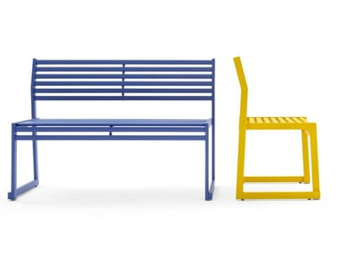 Metal stackable Bench with back CORTINA.026