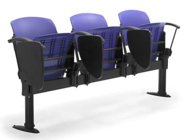 Freestanding polypropylene beam seating with writing tablet CORTINA PANCA | Polypropylene beam seating
