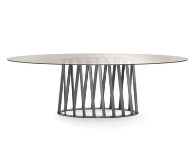 Oval tempered glass dining table COSMO | Tempered glass table