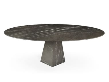 Low oval Graphite Marble coffee table COSMOS GRAPHITE | Low coffee table