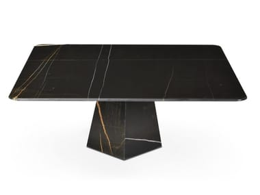 Low square Sahara Noir marble coffee table COSMOS SAHARA NOIR | Square coffee table