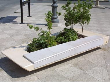 Apricena stone Bench with Integrated Planter COSTA