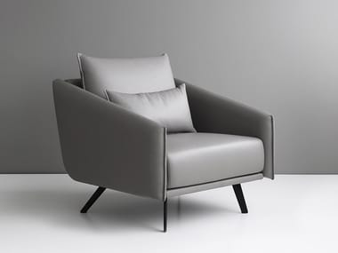Leather armchair with removable cover with armrests COSTURA | Leather armchair