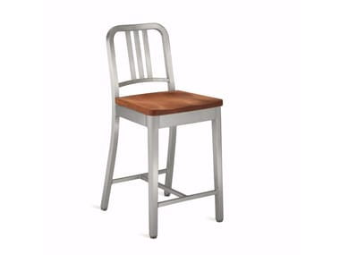 High aluminium and wood stool with back 1104 NAVY | High stool