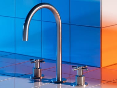 Countertop stainless steel washbasin mixer with individual rosettes HELM ZHM516