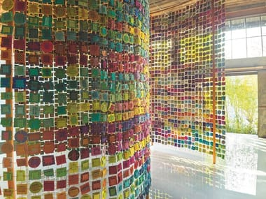 Hanging fabric room divider COUTURE