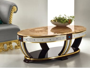 Low oval onyx coffee table CP181 | Coffee table
