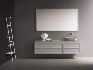 Wall-mounted oak vanity unit with mirror CR#2.10