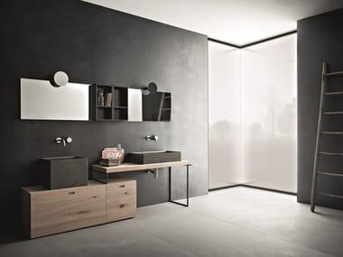 Double oak vanity unit with mirror CR#2.09