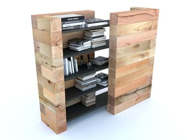 Freestanding double-sided modular beech bookcase CRAFTWAND® | Bookcase