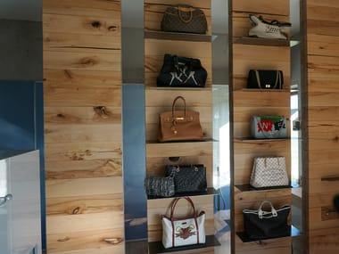 Wall-mounted beech retail display unit CRAFTWAND® | Retail display unit