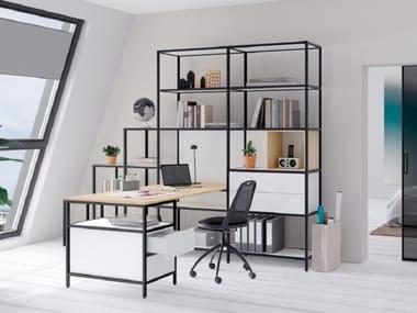 Corner sectional aluminium and wood writing desk with bookcase CREO | Sectional writing desk