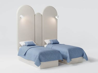 Upholstered fabric 2 single beds with high headboard CRINUM