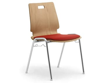 Multi-layer wood and chrome steel chair CRISTALLO | Chair with integrated cushion