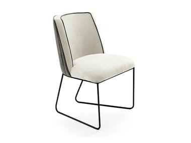 Sled base upholstered fabric chair CROIX I