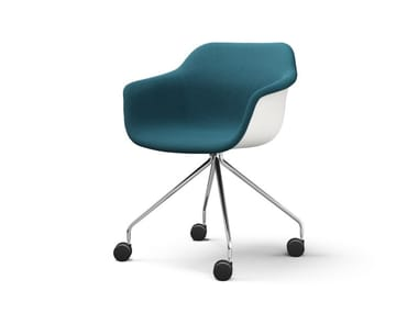 Upholstered fabric chair with armrests with castors CRONA LIGHT TOUCH | Chair with castors